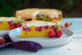 Malinový koláč s vanilkovým snehom