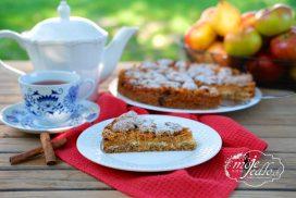 Krupicový koláč s jablkami a s tvarohom