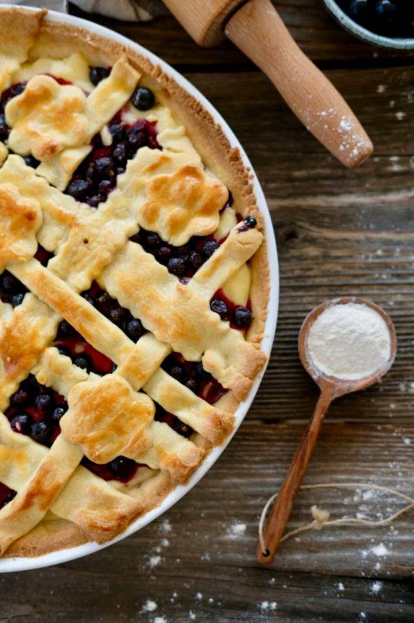 Linecký koláč s pudingom a s ovocím